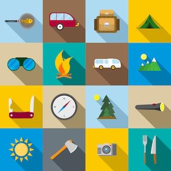 Ensemble d'icônes de randonnée et de camping