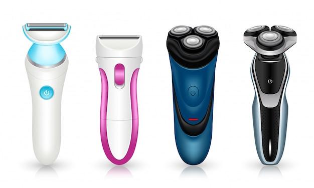 Ensemble d'icônes de rasoir. ensemble réaliste d'icônes de vecteur de rasoir isolé