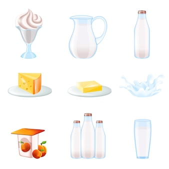 Ensemble d'icônes réalistes au lait