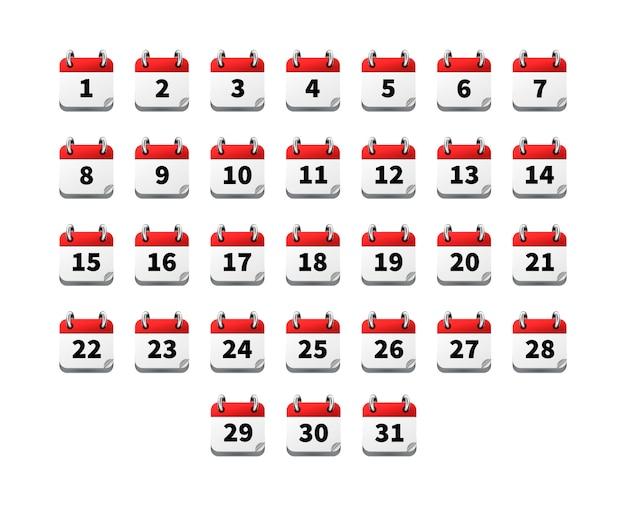 Ensemble d'icônes réalistes lumineuses de calendrier avec des dates isolés sur blanc