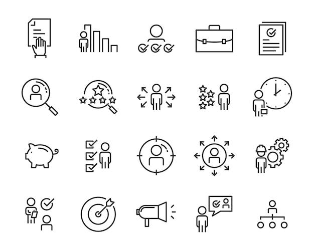 Ensemble d'icônes de recherche d'emploi