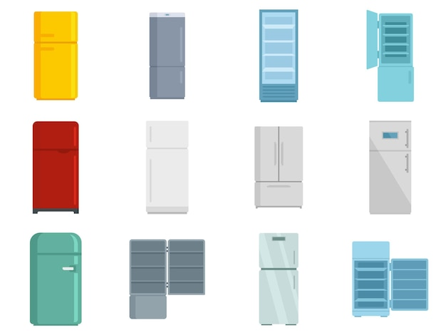 Ensemble d'icônes de réfrigérateur. ensemble plat d'icônes vectorielles de réfrigérateur isolé sur fond blanc
