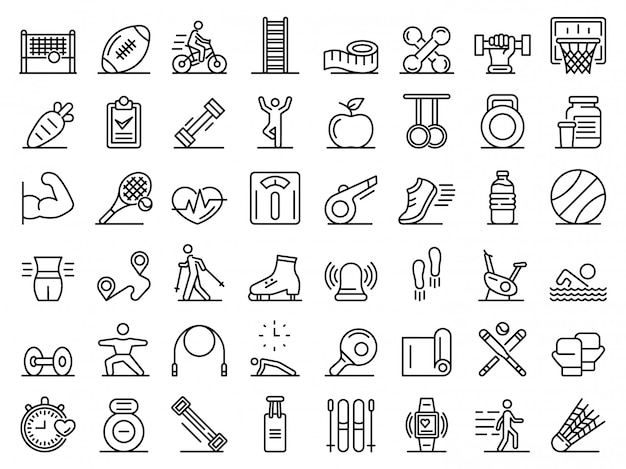 Ensemble d'icônes de remise en forme en plein air, style de contour
