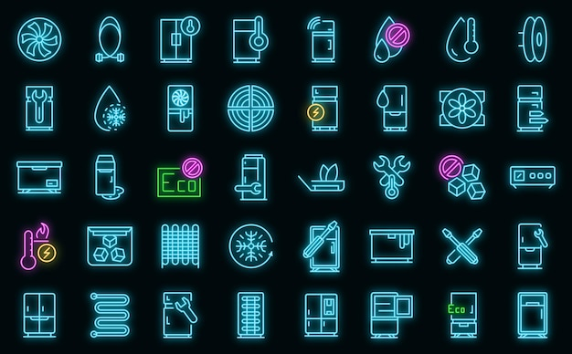 Ensemble d'icônes de réparation de réfrigérateur néon vectoriel
