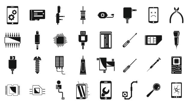 Ensemble d'icônes de réparation de téléphone cassé mobile