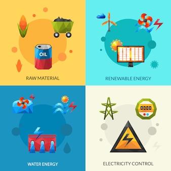 Ensemble d'icônes de ressources énergétiques