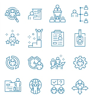 Ensemble d'icônes de ressources humaines avec style de contour