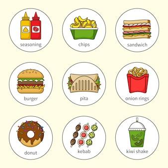 Ensemble d'icônes de restauration rapide. boissons, collations et bonbons. collection d'icônes colorées décrites. sandwich, burger, pita, beignet, shake, chips, kebab, assaisonnement, rondelles d'oignon.