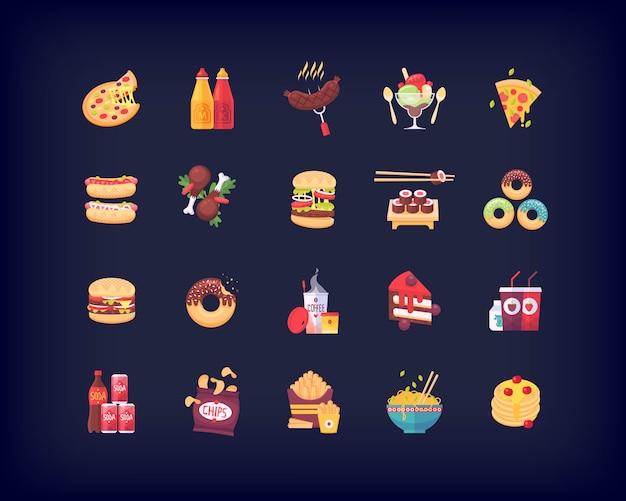 Ensemble d'icônes de restauration rapide
