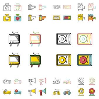 Ensemble d'icônes rétro multimédia plat simple ligne.