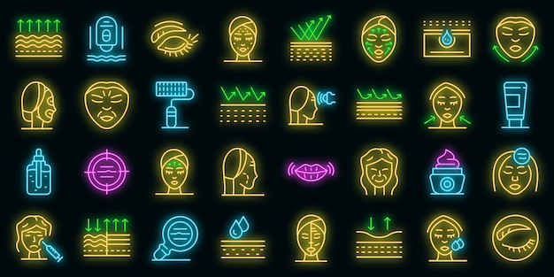 Ensemble d'icônes de rides. ensemble de contour d'icônes vectorielles rides couleur néon sur fond noir