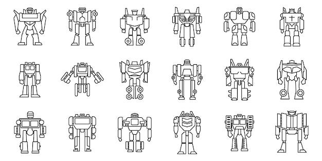 Ensemble d'icônes robot-transformateur futuriste