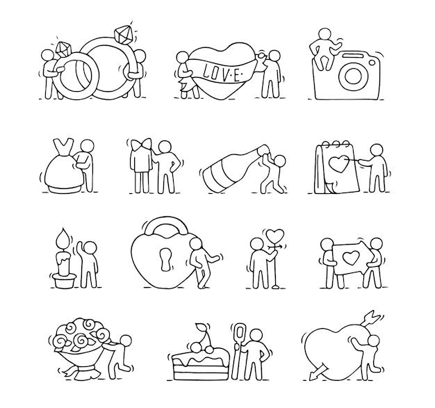 Ensemble d'icônes romantiques de dessin animé de croquis travaillant de petites personnes avec des symboles d'amour