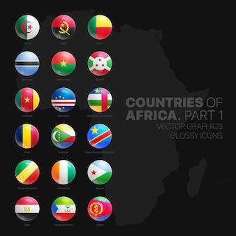 Ensemble d'icônes rond brillant de drapeaux de pays africains