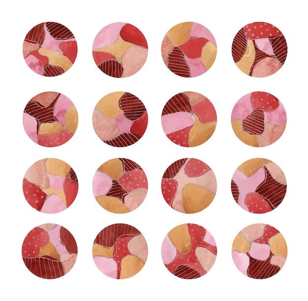 Ensemble d'icônes rondes aquarelles avec abstraction