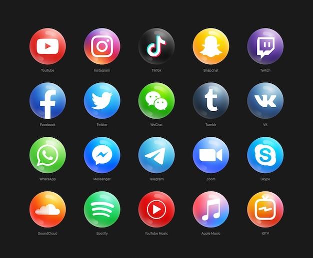 Ensemble d'icônes rondes modernes 3d de médias sociaux