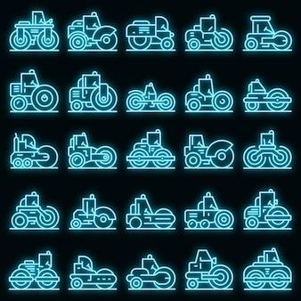 Ensemble d'icônes de rouleau de route. ensemble de contour d'icônes vectorielles de rouleau de route couleur néon sur fond noir