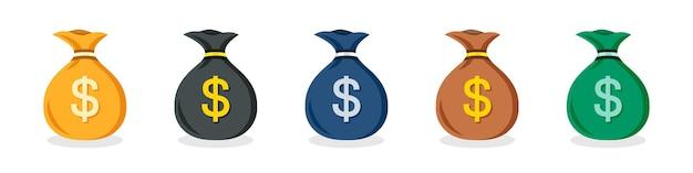 Ensemble d'icônes de sac d'argent en dollars américains de différentes couleurs dans un design plat