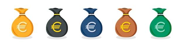 Ensemble d'icônes de sac d'argent en euros de différentes couleurs dans un design plat