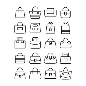 Ensemble d'icônes de sac à provisions