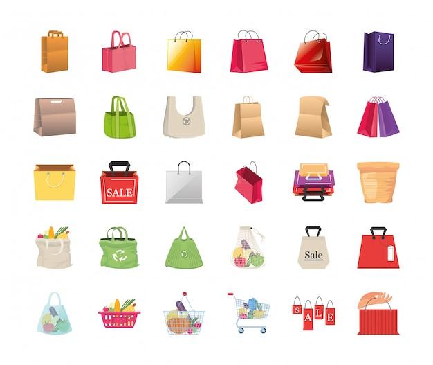 Ensemble d'icônes sacs à provisions sur fond blanc