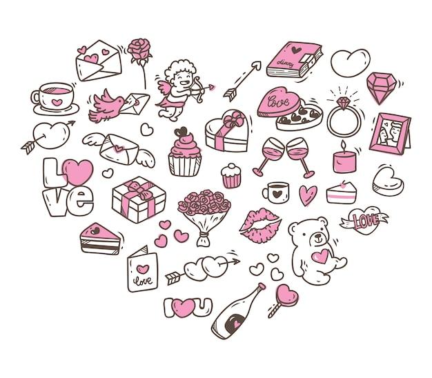 Ensemble d'icônes de la saint-valentin doodle en forme de coeur