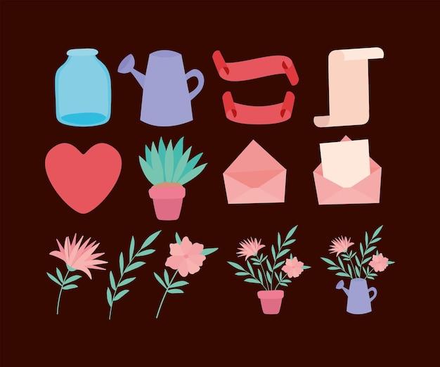 Ensemble d'icônes de la saint-valentin