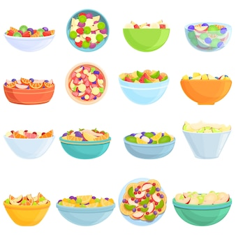 Ensemble d'icônes de salade de fruits. ensemble de dessin animé d'icônes de salade de fruits