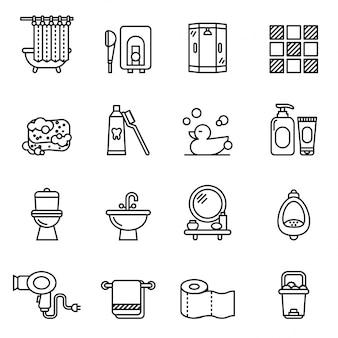 Ensemble d'icônes salle de bain