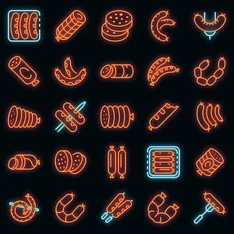 Ensemble d'icônes de saucisse. ensemble de contour d'icônes vectorielles de saucisses couleur néon sur fond noir