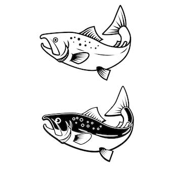 Ensemble d'icônes de saumon sur fond blanc. élément pour logo, étiquette, emblème, signe. illustration