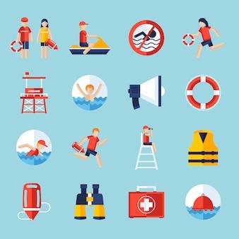 Ensemble d'icônes de sauveteur