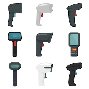 Ensemble d'icônes de scanner de codes à barres. ensemble plat d'icônes vectorielles de scanner de codes à barres isolé sur fond blanc