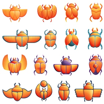 Ensemble d'icônes scarabée scarabée, style cartoon