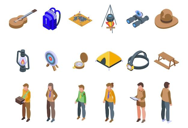 Ensemble d'icônes de scoutisme. ensemble isométrique d'icônes vectorielles de scoutisme pour la conception web isolé sur fond blanc