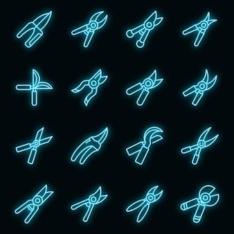 Ensemble d'icônes de sécateur. ensemble de contour d'icônes vectorielles sécateurs couleur néon sur fond noir