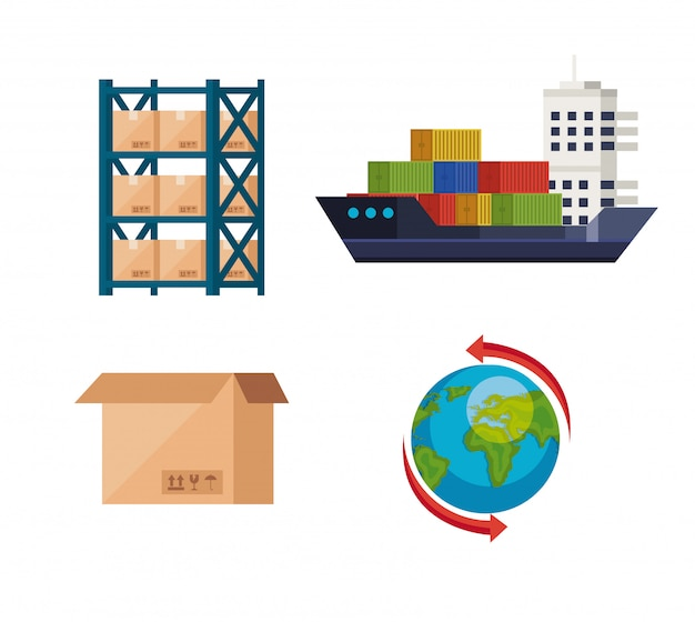 Ensemble d'icônes de service logistique de livraison vector illustration design