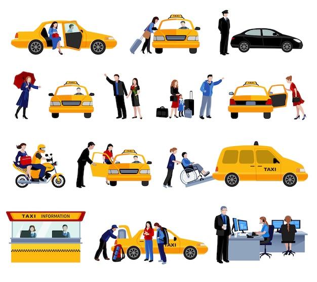 Ensemble d'icônes de service de taxi