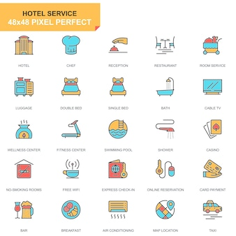 Ensemble d'icônes de services hôteliers ligne plate