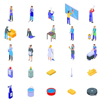 Ensemble d'icônes de services de nettoyage, style isométrique