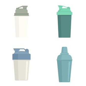 Ensemble d'icônes de shaker. ensemble plat d'icônes vectorielles shaker isolé sur fond blanc