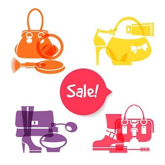 Ensemble d'icônes de shopping de mode. vente d'enseignes élégantes et élégantes