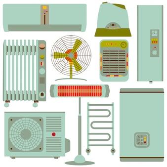 Ensemble d'icônes silhouette chauffage, ventilation et conditionnement. illustration