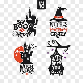 Ensemble d'icônes de silhouettes halloween avec citation pour la décoration de fête et autocollant de coupe