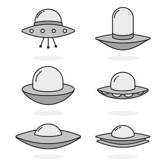 Ensemble d'icônes simples ovni isolé sur fond blanc.