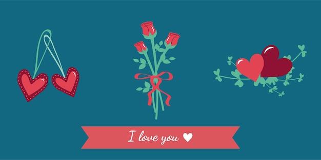 Ensemble d'icônes simples pour la fête de mariage de la saint-valentin anniversaire vacances bouquet de roses rouges avec une côte...