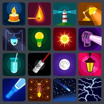 Ensemble d'icônes de source de lumière.