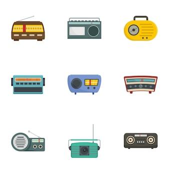 Ensemble d'icônes de station de radio, style cartoon