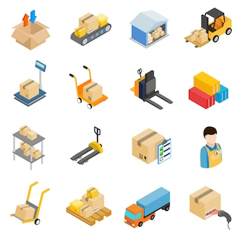 Ensemble d'icônes de stockage logistique d'entrepôt