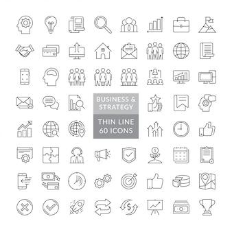 Ensemble d'icônes de stratégie d'entreprise